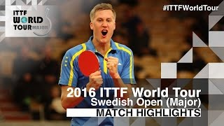 【Video】KARLSSON Mattias VS OVTCHAROV Dimitrij, 2016 Swedish Open  semifinal