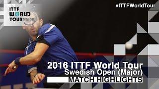 【Video】OVTCHAROV Dimitrij VS MONTEIRO Joao, 2016 Swedish Open  best 16