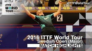 【Video】ZHOU Yu VS HACHARD Antoine, 2016 Swedish Open  best 64
