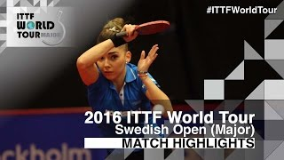【Video】SZOCS Bernadette VS CHOI Hyojoo, 2016 Swedish Open  quarter finals