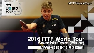 【Video】MOREGARD Truls VS LIAO Cheng-Ting, 2016 Swedish Open  best 32