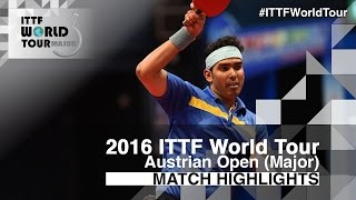 【Video】ACHANTA Sharath Kamal VS CHEN Chien-An, 2016 Hybiome Austrian Open  best 16