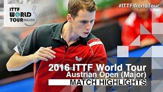 【Video】ZHOU Kai VS GROTH Jonathan, 2016 Hybiome Austrian Open  best 32