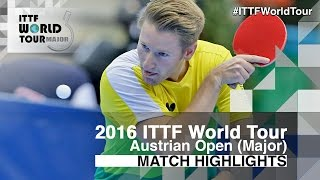 【Video】FEGERL Stefan VS FILUS Ruwen, 2016 Hybiome Austrian Open  best 32