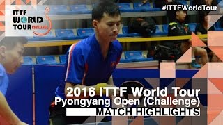 【Video】ZHAO Zhaoyan VS CHOE Il, 2016 Pyongyang Open  quarter finals