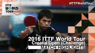 【Video】TOKIC Bojan VS CHUANG Chih-Yuan, 2016 Zagreb  Open  best 32