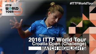 【Video】SAMARAElizabeta VS LIN Ye, 2016 Zagreb  Open  best 32