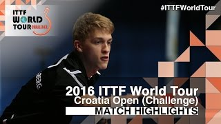 【Video】KALLBERG Anton VS KOJIC Frane, 2016 Zagreb  Open  best 64