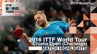 【Video】PERSSON Jon VS SWARTENBROUCKX Gaetan 2016 Zagreb  Open