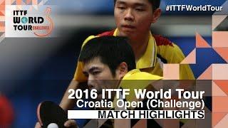 【Video】CHUANG Chih-Yuan・SUN Chia-Hung VS DUDA Benedikt・QIU Dang, 2016 Zagreb  Open  best 32
