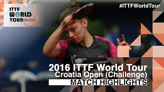 【Video】DE NUTTE Sarah VS PETERMAN-VARGA Timea 2016 Zagreb  Open
