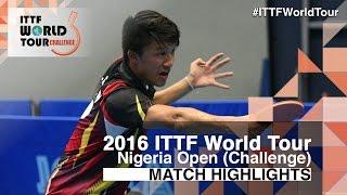 【Video】CHEN Diogo VS OMOTAYO Olajide, 2016 Premier Lotto Nigeria Open  quarter finals