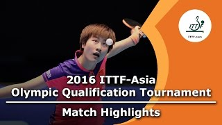 【Video】RI Myong Sun VS DING Ning, 2016 ITTF-Asian Olympic Qualification Tournament best 16