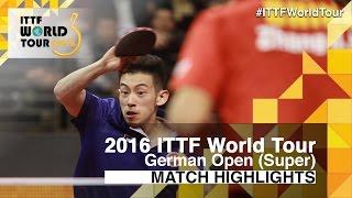 【Video】WONG Chun Ting VS ZHANG Jike, 2016 German Open  best 16