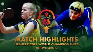 【Video】BERGAND Filippa VS KLIMANOVA Natalija, 2019 World Table Tennis Championships